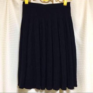 ヨンドシー(4℃)の【4℃】ニット☆プリーツスカート☆38☆ブラック(ひざ丈スカート)