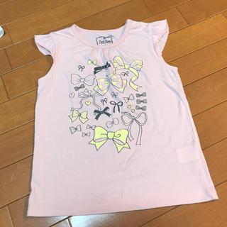 ナルミヤ インターナショナル(NARUMIYA INTERNATIONAL)の【130】Pupil House ガールズ Tシャツ ピンク×リボン(Tシャツ/カットソー)