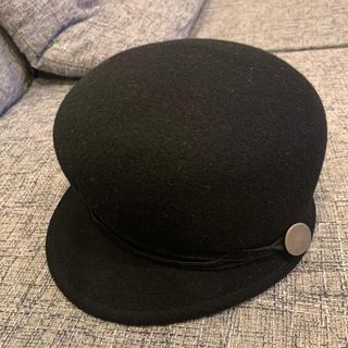 ビームス(BEAMS)のBEAMS ブラック ウールキャスケット キャップ 帽子(キャスケット)