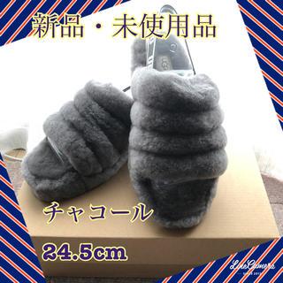 UGG - 【新品】UGGフラッフイヤースライド ファー サンダル 24.5