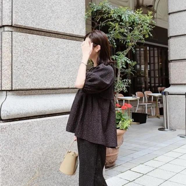 Drawer(ドゥロワー)のマチャット ふくれジャガードトップス レディースのトップス(シャツ/ブラウス(半袖/袖なし))の商品写真