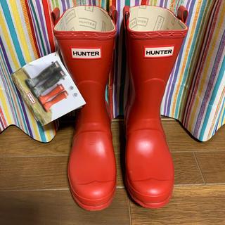 ハンター(HUNTER)のHUNTER  ショートレインブーツ レッド 24〜24.5cm(レインブーツ/長靴)