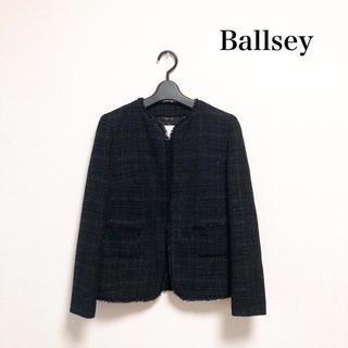 ボールジィ(Ballsey)のBallsey ツイードノーカラージャケット 黒 ラメ 日本製 仕事 セレモニー(ノーカラージャケット)