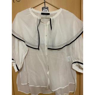 ダブルクローゼット(w closet)の配色パイピングラッフル衿ブラウス(シャツ/ブラウス(半袖/袖なし))