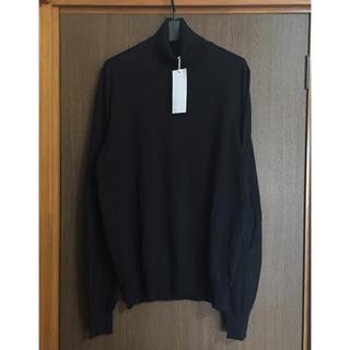 マルタンマルジェラ(Maison Martin Margiela)の黒XL新品 メゾン マルジェラ エルボーパッチ タートルネック ニット ブラック(ニット/セーター)