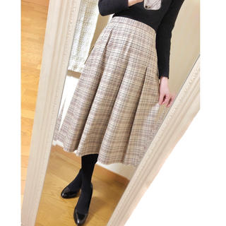 イセタン(伊勢丹)のViyella ◆ チェック柄ボックスプリーツスカート ◆ 新品タグ付き(ひざ丈スカート)