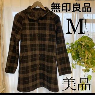 ムジルシリョウヒン(MUJI (無印良品))の秋セール‼️無印良品チェックコートメンズMサイズ(ピーコート)
