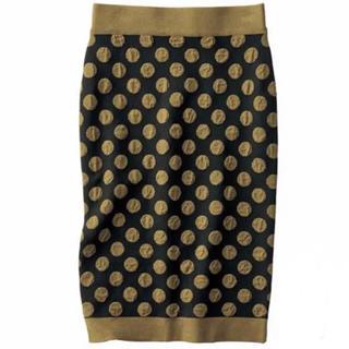 セシール(cecile)のドットジャカードスカート(ひざ丈スカート)