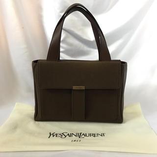 イヴサンローランボーテ(Yves Saint Laurent Beaute)の【保存袋付き】美品 イヴサンローラン ハンドバッグ 小さめ レザー×ナイロン(ハンドバッグ)