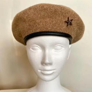 マウジー(moussy)の新品 MOUSSY ベージュブラウンウール素材ベレー帽(ハンチング/ベレー帽)