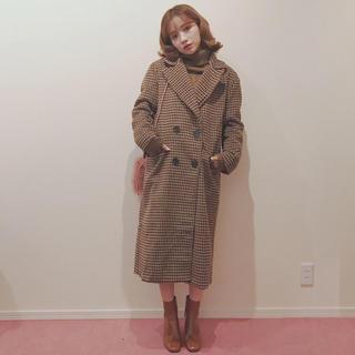 ロキエ(Lochie)の♡andlottie gingham check vintage coat(ロングコート)