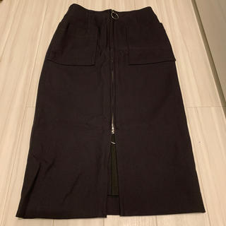 ノーブル(Noble)のNOBLE 美品 ダブルクロス フープジップタイトスカート(ひざ丈スカート)