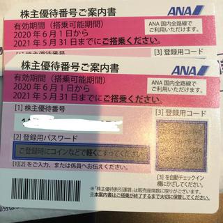 エーエヌエー(ゼンニッポンクウユ)(ANA(全日本空輸))のANA 優待券2枚 2021年05月31日 (航空券)