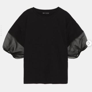 ZARA - ZARA オーガンザスリーブ Tシャツ Mサイズ ブラック