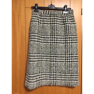 ハナエモリ(HANAE MORI)の美品 ツイードスカート タイト(ひざ丈スカート)