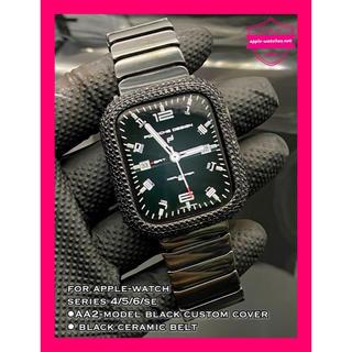 アップルウォッチ(Apple Watch)のアップルウォッチ44mm用●カスタムブラックダイヤカバーセラミックベルト(金属ベルト)