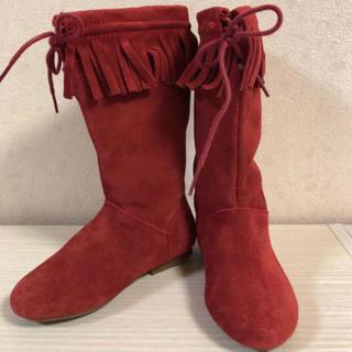 ザラ(ZARA)の【ほぼ新品】ZARA KIDS 赤 フリンジ ブーツ(ブーツ)