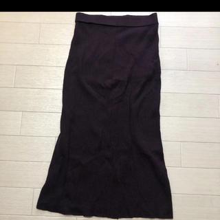 ユニクロ(UNIQLO)のユニクロ パープル ニットスカート(ひざ丈スカート)