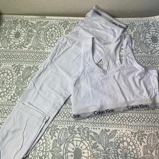 カルバンクライン(Calvin Klein)のCK 下着上下セット 白ロングタイツ(ブラ&ショーツセット)