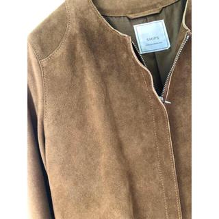 シップス(SHIPS)のSHIPS レザージャケット ノーカラー キャメル 羊革 キュプラ(ノーカラージャケット)