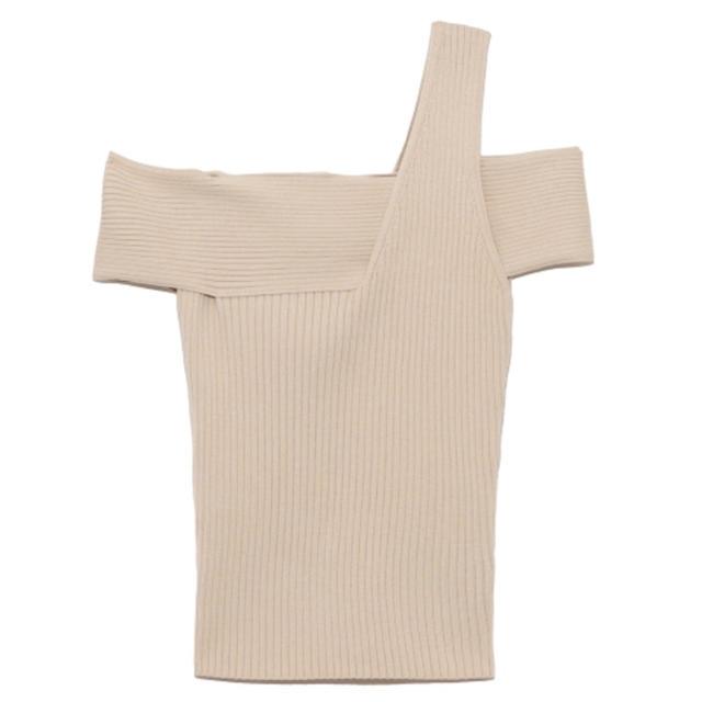snidel(スナイデル)のSNIDEL アシメニットオフショルプルオーバー レディースのトップス(カットソー(半袖/袖なし))の商品写真