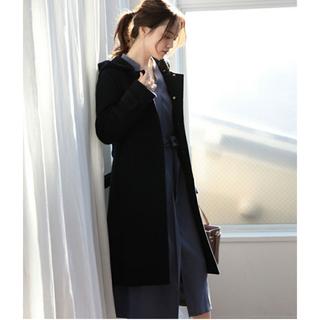 ヴィス(ViS)の【新品/定価16280円】Vis ノーカラーコート 黒 Mサイズ ロングコート(ロングコート)