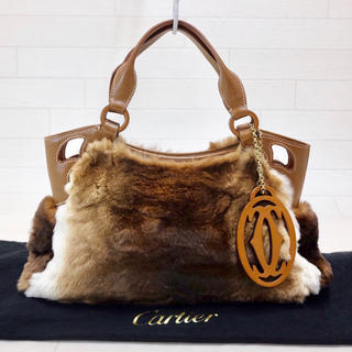 カルティエ(Cartier)の☆美品・チャーム付☆ カルティエ Cartier マルチェロ ラビットファー(ハンドバッグ)
