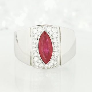 Pt900 天然ルビー×ダイヤモンド メンズ レディース リング(リング(指輪))
