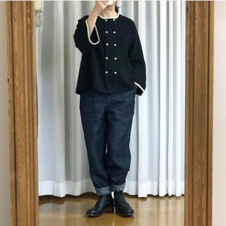 ミナペルホネン(mina perhonen)の新品 マガリ Wボタンジャケット ブラック(ノーカラージャケット)