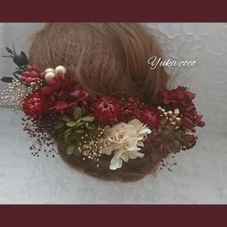 ドライフラワー ヘッドドレス 髪飾り❁︎成人式 結婚式 前撮り 振袖 色打掛(ヘッドドレス/ドレス)