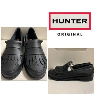 ハンター(HUNTER)の美品 ハンター ブラックラバー フリンジ レインブーツ(レインブーツ/長靴)