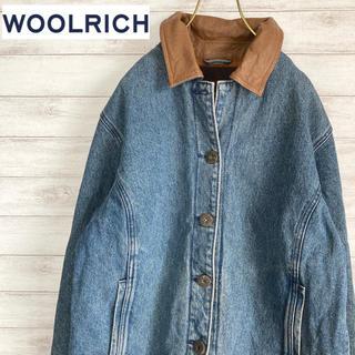 WOOLRICH - レディースMサイズ 古着 デニムジャケット カバーオール チェック柄 #225