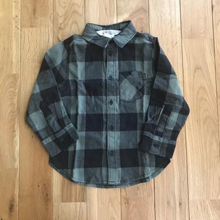エイチアンドエム(H&M)の新品 H&M チェックシャツ フランネルシャツ カーキ 100センチ 男の子(ブラウス)