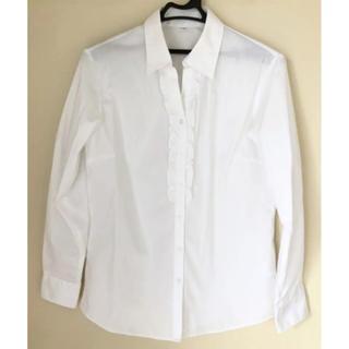 イオン(AEON)の胸元フリル スキッパーカラーシャツ 白(ストライプ)(シャツ/ブラウス(長袖/七分))