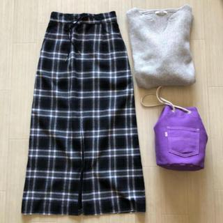 カプリシューレマージュ(CAPRICIEUX LE'MAGE)のCAPRICEUX LEMAGE 18AW チェックスリットロングスカート(ロングスカート)