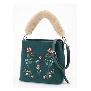 アメリエルマジェスティックレゴン(amelier MAJESTIC LEGON)の花刺繍ファーバッグ グリーン(ハンドバッグ)