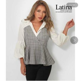 アナップラティーナ(ANAP Latina)の新品 チェックビスチェ ドッキング ペプラムシャツ(シャツ/ブラウス(長袖/七分))