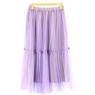 ギャラリービスコンティ(GALLERY VISCONTI)の新品 プリーツ スカート 紫 パープル Lサイズ サイズ3(ロングスカート)