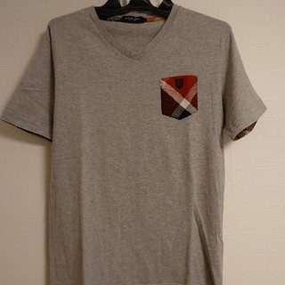 BURBERRY BLACK LABEL - (シミ、ヨレなし)ブラックレーベル Tシャツ グレー&赤チェック