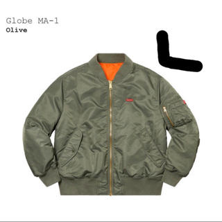 シュプリーム(Supreme)のsupreme  Globe MA-1 Olive L ma1 ジャケット(フライトジャケット)
