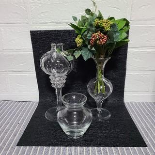 アレンジフラワー付きガラス花瓶3点(花瓶)
