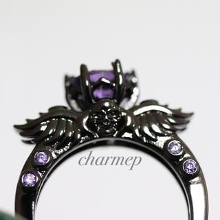 【VR072】パープルストーンの羽モチーフブラックリング指輪大きいサイズ(リング(指輪))