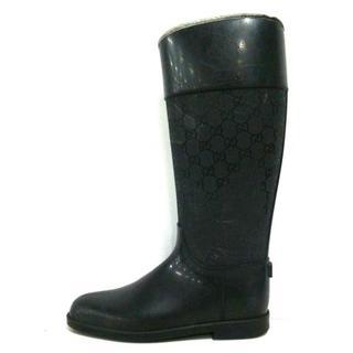グッチ(Gucci)のグッチ レインブーツ 39 レディース - 黒(レインブーツ/長靴)