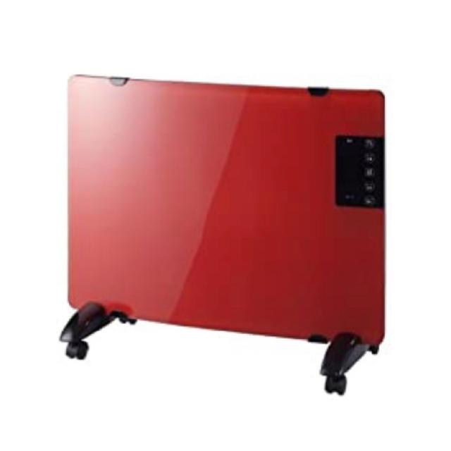 ガラスパネルヒーター レッド PH-1330RD  パネルヒーター ミニパネルヒ スマホ/家電/カメラの冷暖房/空調(電気ヒーター)の商品写真