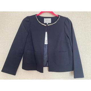 クチュールブローチ(Couture Brooch)の【couture brooch】パール付きポンチ素材ジャケット(サイズ38)(ノーカラージャケット)