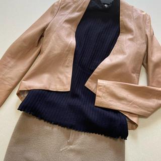 ルシェルブルー(LE CIEL BLEU)のレザージャケット(ノーカラージャケット)