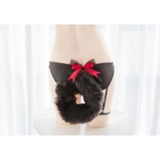 【新品・国内発送】黒猫のショーツ&尻尾セット フリーサイズ(M)(コスプレ用インナー)