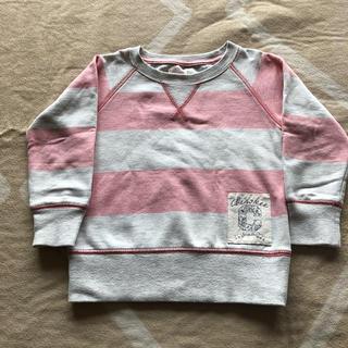 ニシマツヤ(西松屋)のチェロキー ライトグレー×ピンク ボーダー柄 裏起毛付き スウェット 100㎝(Tシャツ/カットソー)