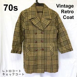 ロキエ(Lochie)の美品【 vintage 】 チェックコート ダブルボタン グレンチェックコート(ロングコート)