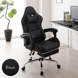 【ブラック】 ゲーミングチェア オフィス 椅子 リクライニング ハイバック(ロッキングチェア)